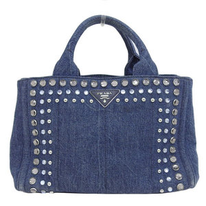 Genuine PRADA Prada denim Kanapa tote bag bijoux blue leather