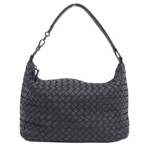 Genuine BOTTEGA VENETA Bottega Veneta Lambskin Intrechert semi-shoulder bag black leather