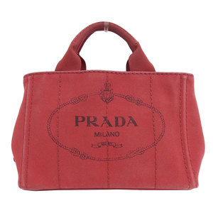 Genuine PRADA Prada Kanapa Tote PM 2WAY Bag Shoulder Red Leather