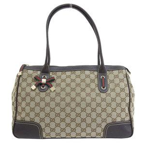 Genuine GUCCI Gucci GG Canvas Princi Tote Bag Beige × Dark Brown Model number: 177052 bag leather