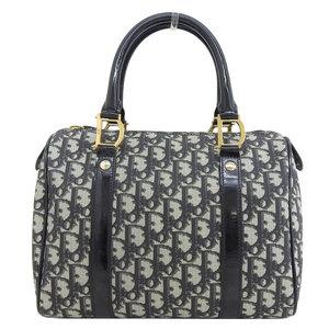 Genuine Christian Dior Trotter Mini Boston Bag Handbag Black Leather