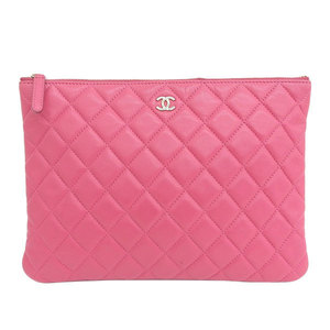 Genuine CHANEL Chanel lambskin clutch bag pink 22 stand leather
