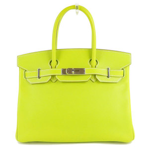 Genuine Hermes Vaux Epson Candy Burkin 30 SV metal fittings Kiwi yellow green □ O engraved bag leather
