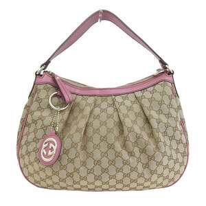 Gucci Sukey GG Canvas Shoulder Bag Pink Beige
