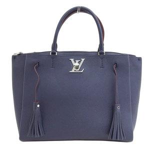 Genuine LOUIS VUITTON Louis Vuitton Leather 2WAY Tassel Shoulder Bag Navy
