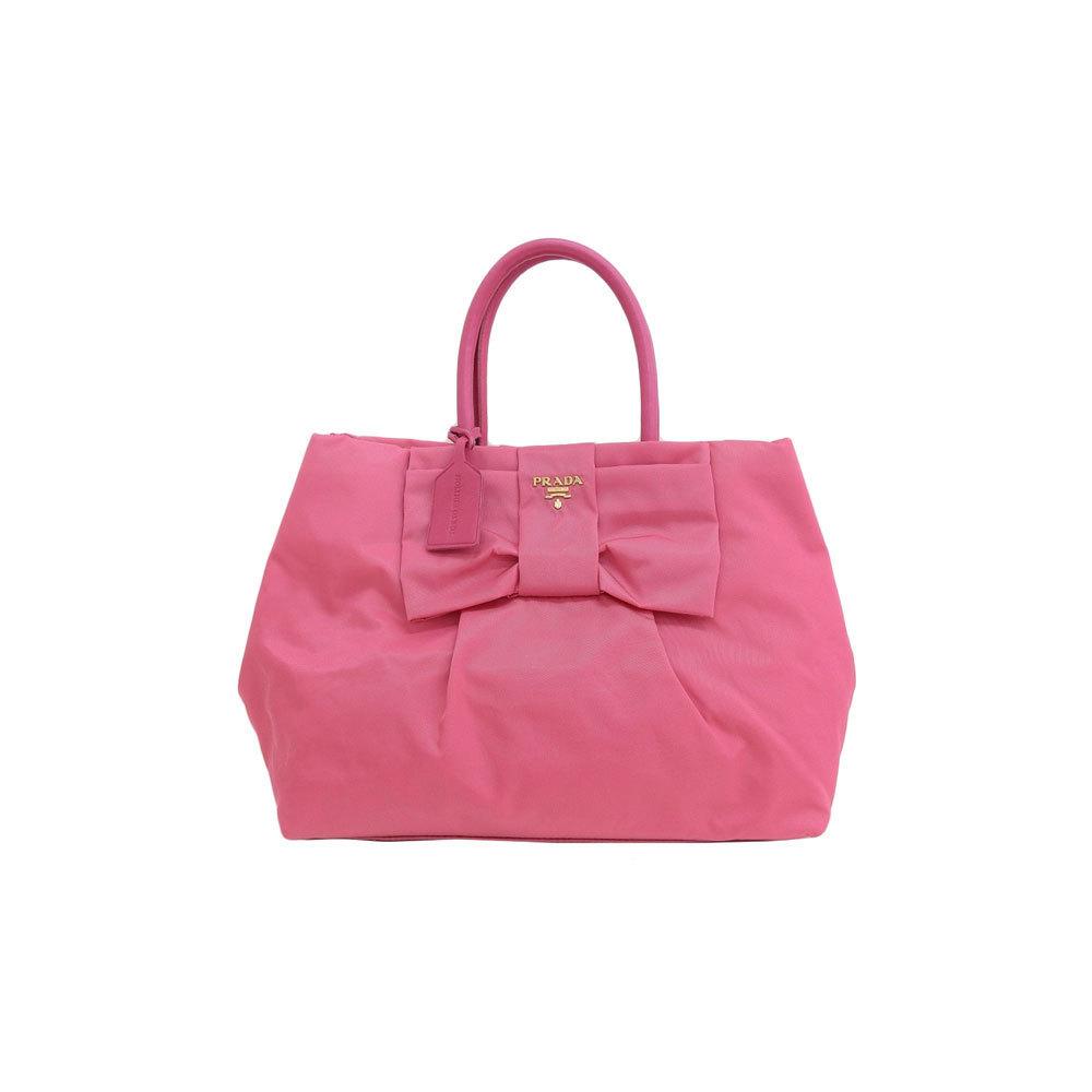 Genuine PRADA Prada nylon ribbon handbag pink Model number: BN1601 bag leather