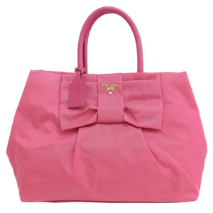 Genuine PRADA Prada nylon ribbon handbag pink Model number: BN1601 bag leather