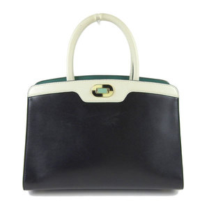 Genuine BVLGARI Bulgari Leather Isabella Rossellini by color 2WAY hand shoulder bag black white leather