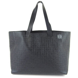 Genuine LOEWE Loewe embossed leather tote bag black