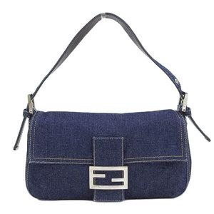 Genuine FENDI Fendi Denim Mamma bucket Semi-shoulder bag Blue Leather