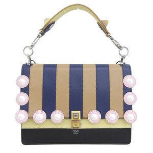 Genuine FENDI Fendi Kanai Leather 2WAY Handbag Shoulder Multicolor Bag