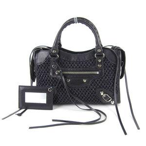 Genuine BALENCIA GA Balenciaga Leather Classic Mini City 2WAY Hand Shoulder Bag Black 300295
