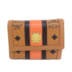 エム・シー・エム(MCM) エムシーエム MCM センターライン 3つ折財布 ウォレット ロゴ キャメル×オレンジ