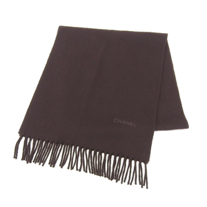 Chanel CHANEL logo embroidery cashmere 100% scarf fringe brown