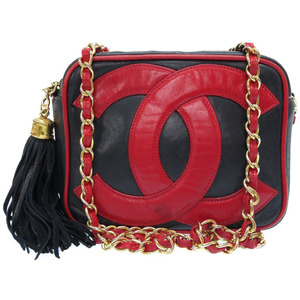 Chanel Decacoco Fringe Lambskin Navy Red Gold Chain Shoulder Bag Agate 0371 CHANEL
