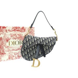 Dior Oblique Saddle Bag Shoulder Jacquard Canvas Trotter Blue 0219