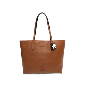 COACH × Disney Collaboration Leather Brown Black 56645 Tote Bag Mickey 0063 COACH
