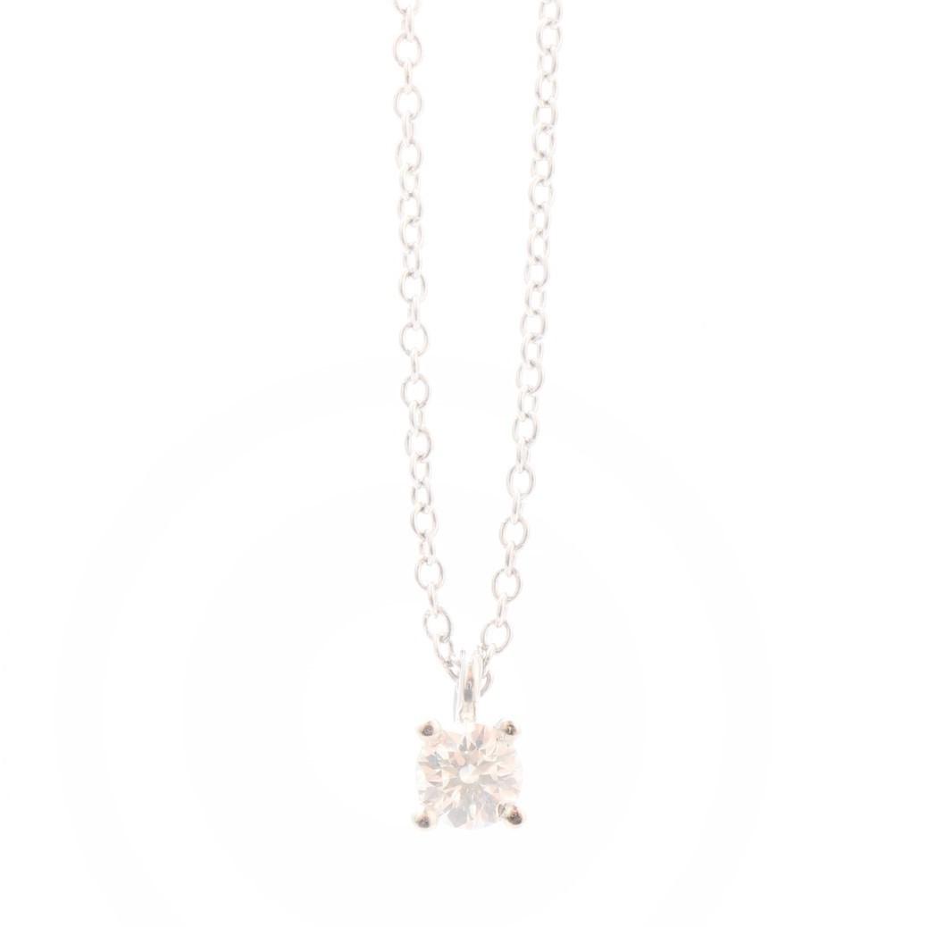 Tiffany Solitaire Platinum 950 Diamond Women S Pendant Carat 0 12 Platinum Use Ebay