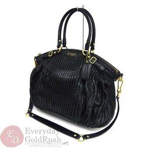 COACH Handbag 2WAY Madison Leather Black Gathered F18643