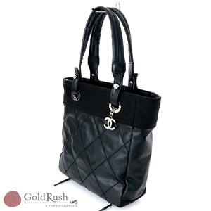 CHANEL Paris Biarritz Tote Shoulder Bag PM Black