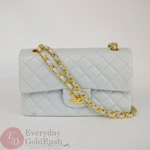 CHANEL Matrasse shoulder bag W chain flap light blue lambskin card Yes