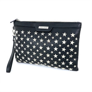 Jimmy Choo Black Leather Studded Clutch Bag Unisex Leather Clutch Bag Black
