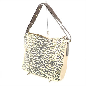 Furla FURLA Leopard × Beige Brown Leather Shoulder Bag Women