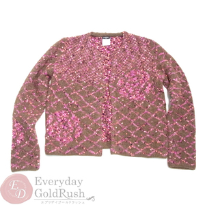 CHANEL Brown × Pink Wool Knit Cardigan 42 M1282 Winter clothes