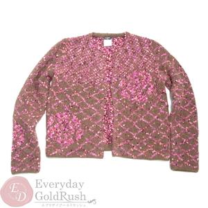 シャネル(Chanel) CHANEL ブラウン×ピンク ウール ニット カーディガン 42 M1282 冬服