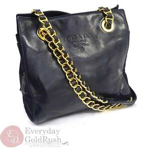 PRADA Chain Shoulder Bag Leather Nylon Black Women