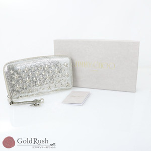 JIMMY CHOO Silver Leather Flipper Star Studs Long Wallet Women