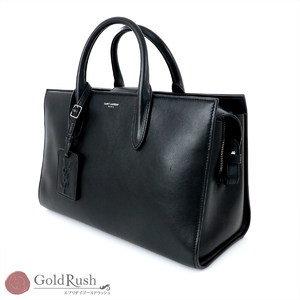SAINT LAURENT PARIS Black Leather 2WAY Bag 504924 2way Women