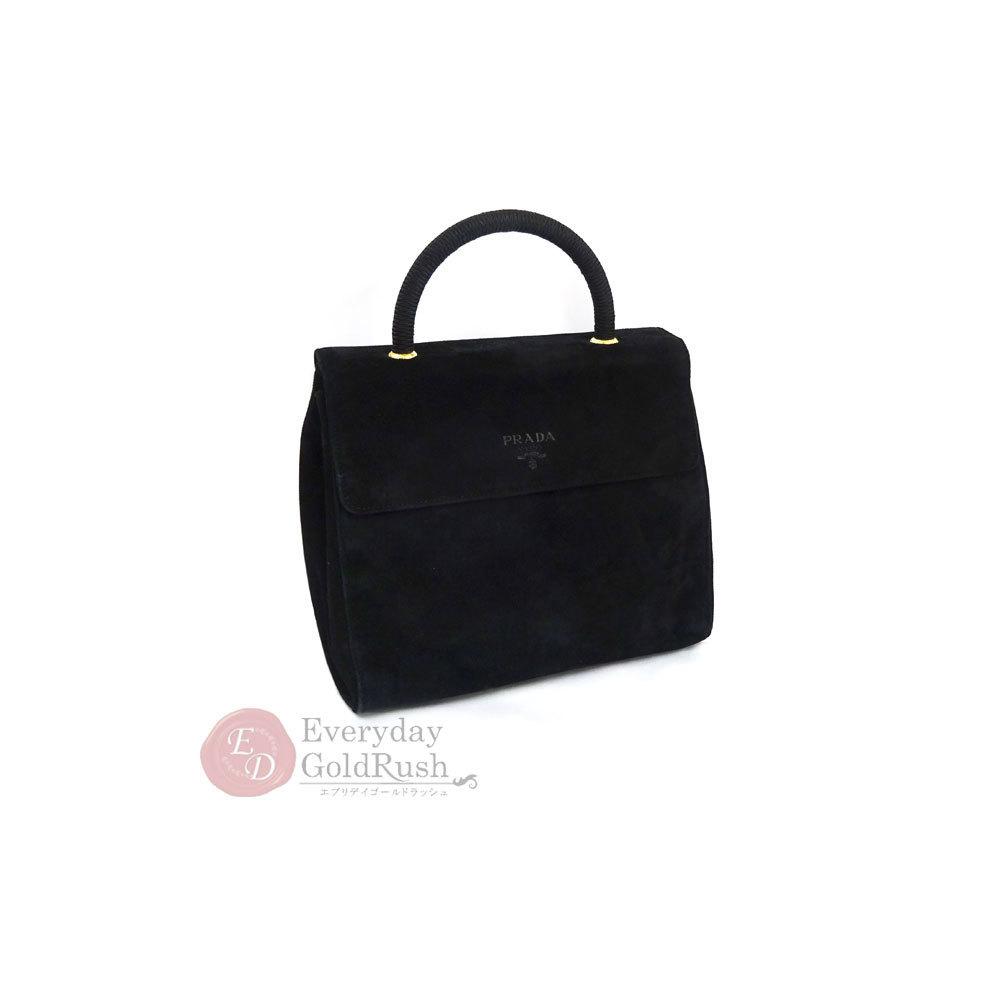 PRADA Handbag Black Suede Formal Ladies