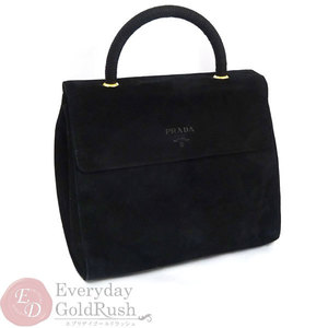 PRADA Handbag Black Suede Formal Ladies