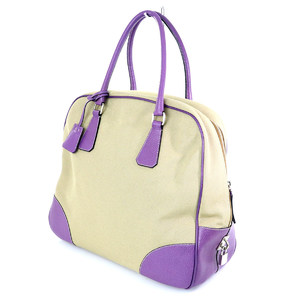 PRADA beige × purple canvas bowling bag tote women