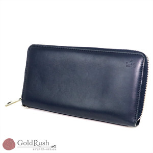 GUCCI Navy calfskin round zipper long wallet men