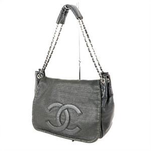 CHANEL Black caviar skin mesh flap handbag