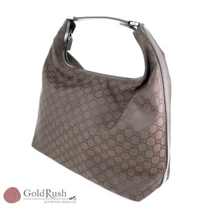 GUCCI GG pattern Brown canvas × leather one shoulder bag 25723