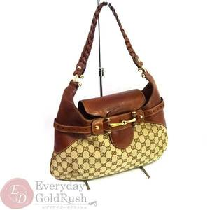 GUCCI One Shoulder Bag 213317 Beige × Brown Canvas Leather Women