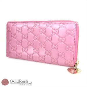 GUCCI Shima Line Metallic Pink Leather Round Zip Long Wallet Women