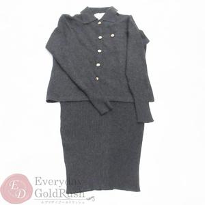 CHANEL cashmere knit ensemble cardigan dress 70826 gray coco mark women