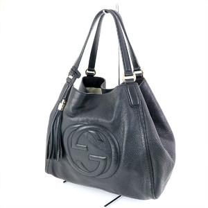 GUCCI Black Leather Soho Tote 28309 Interlockin G Tassel Women