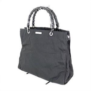 GUCCI Bamboo Black Nylon Handbag Women
