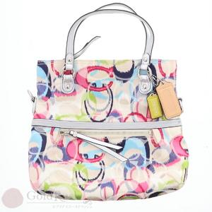 COACH Poppy Ikat Foldover Crossbody 19873 Shoulder Bag 2WAY Women