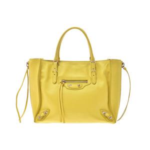 Balenciaga Paper Mini Yellow Women's Calf 2WAY Handbag AB Rank BALENCIAGA Strap with Used Ginzo