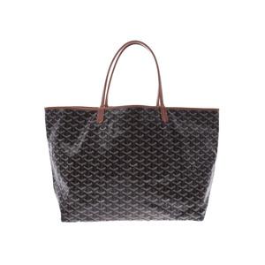 Goyard Saint Louis GM Black / Brown Men's Women's PVC Leather Tote Bag
