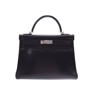 HERMES KELLY 32 Internally sewn Black SV bracket □ D stamped Ladies BOX calf 2WAY handbag AB rank with strap Used Ginzo