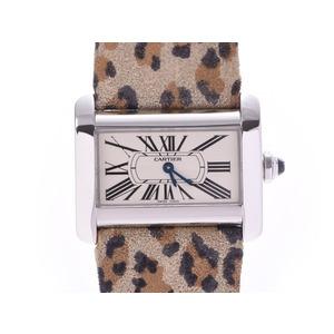 Cartier Mini-Divant ivory dial Women's SS / leather quartz watch AB rank CARTIER used Ginzo