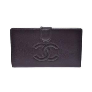 CHANEL Gamaguchi Purse Dark Brown-based SV metal fittings Ladies caviar skin AB rank box Used Ginzo