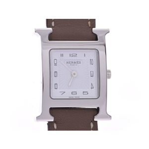 Hermes Ramsis Dubrutour white dial HH1.210 Ladies SS / leather quartz watch A rank beauty goods HERMES box used Ginzo